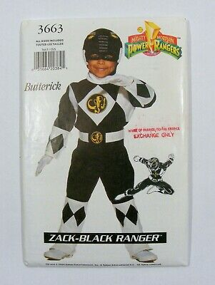 1994 Power Rangers, ZACK - Black Ranger, UNCUT PATTERN All Sizes, Butterick 3663