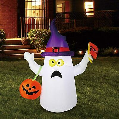 5FT Inflatable Lighted Ghost Boo Flag Halloween Lighting Outdoor Decor Yard Prop