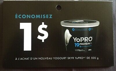 Lot of 20 x 1.00$ SKYR YoPRO Products Coupons Canada