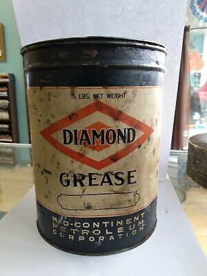 Diamond [D-X Oil_Mid-Continent Petroleum] GREASE 5 lns Can w/ Contents Vtg