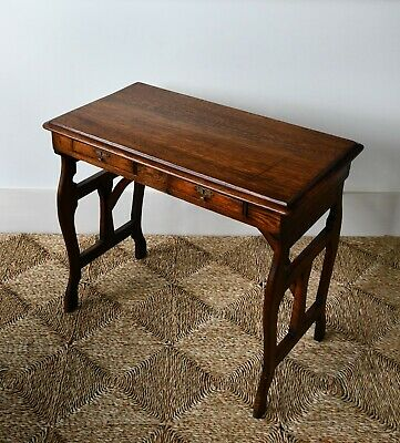 Late 19th C Oak Campaign Brass Bed Side Drawer Lamp Hall Desk Writing Table
