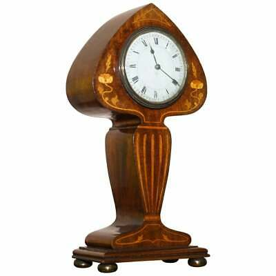 Stunning Richard & Co Art Nouveau Mahogany Inlaid Mantle Clock Ace Of Spades