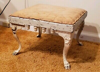 Antique Victorian Cast Iron Foot Stool w White Paint Sold As Found Vintage Cond.