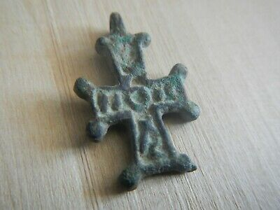 Ancient Byzantine Cross Pendant with Inscription