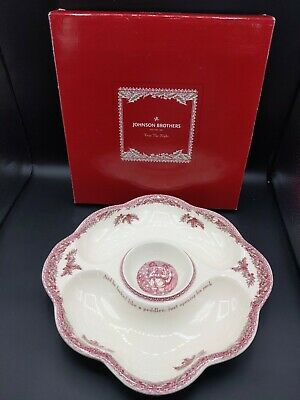 Johnson Brothers TWAS THE NIGHT BEFORE CHRISTMAS Chip & Dip Server New W/Box   H