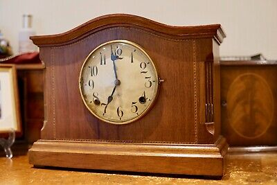 19 Century Gilberts 8 Day Mahogany Antique Mantle Clock Chimes GWO