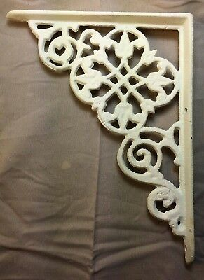 Set Of 2 Antique White Victorian Floral Cast Iron Braces Brackets
