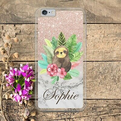 PERSONALISED SLOTH FLOWER ROSE GOLD GLITTER  Phone Case Cover for iPhone Samsung