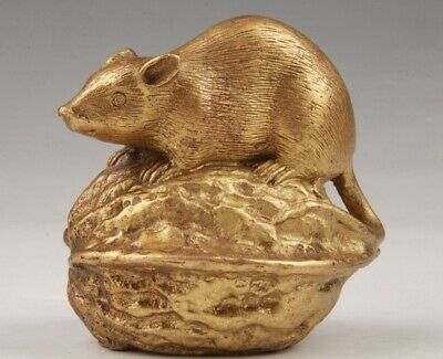 Rare China Brass Handmade Carving Mice Walnut Animal Statue Collection Gift