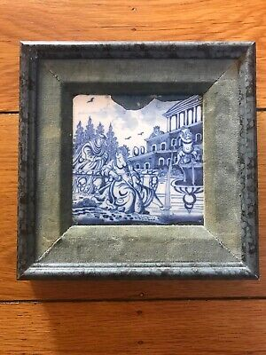 Antique Dutch Delft Openluchtje Fountain Landscape Framed Tile C1700-1750
