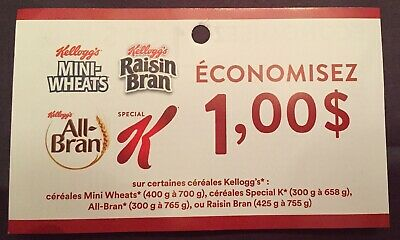 Lot of 20 x 1.00$ Kellogg's Cereal Products Coupons Canada