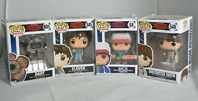 Funko Pop - Stranger Things - Dustin(8-bit) Ghostbuster Dustin, Eleven, Dart lot