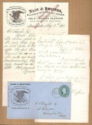 1877 Letter + Copy of Reply ~ NYC to S TRENTON NY Farm Machines COATES' HAY RAKE
