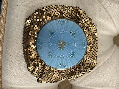 Beautiful Vintage Evans Gold Sequins Evening Bag With Compact Top Blue Enamel