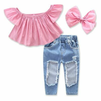 3PCS Toddler Kids Baby Girls T-shirt Tops+Hole Jeans Pants Clothes Outfits Set Q