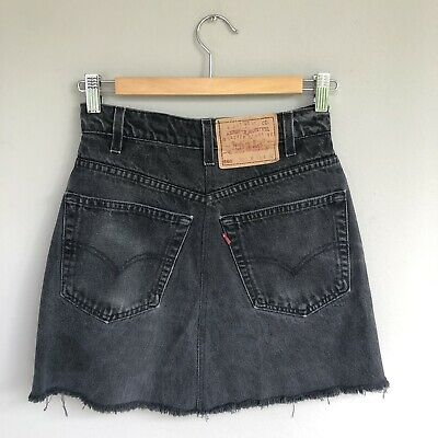 LEVI's Deconstructed Reworked Jean Black Denim Skirt High Waisted Size  XS S