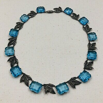 Lovely Antique Art Nouveau / Deco Aqua Blue Open Back Crystal & Leaf Necklace