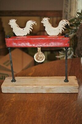Antique Carnival Shooting Gallery Two Chickens Target Cast Iron Mounted Stand
