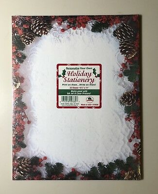 Ampad Christmas Pinecone Lace Stationery Letterhead Copy Paper, 25 Count