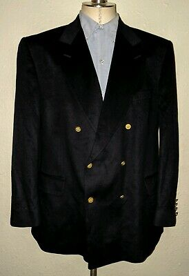 ENGLAND Pure Cashmere 44R Peak Double Breasted Gold 2-vent Blazer Jacket Coat
