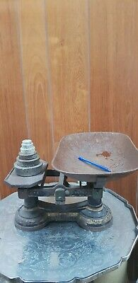Old Vintage Antique Cast Iron Kitchen Scales plus weights, tray rusted.