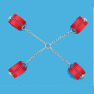 Red Faux/PU Leather Chain Wrist hands Ankle Cuffs with Locks