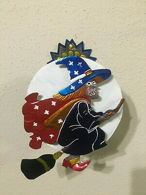Mexican Folk Art Punched Tin Metal Witch Candle Holder Wall Hanging Halloween