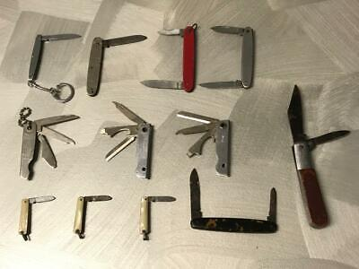 Vintage Small Folding Pocket Pen Knife Lot Barlow Camping Hunting Times Table