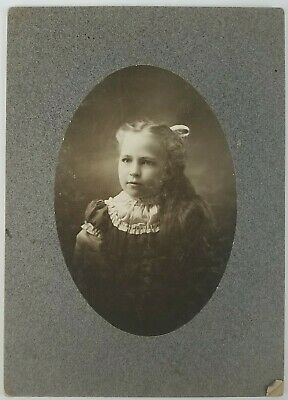 Cabinet Card pretty young girl with long hair with bow 1900's ID'd Doris Bond