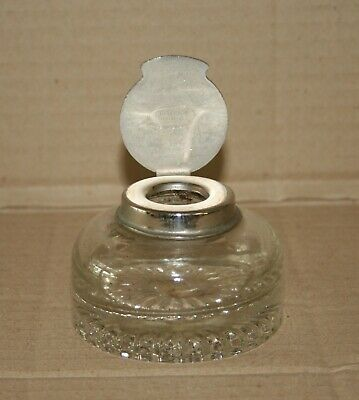 Inkwell - glass with nickel plated lid in excellent condition