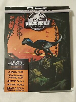Jurassic World (5) Movie Collection: Steelbook (4K Ultra HD, Blu-ray) LIKE NEW!!