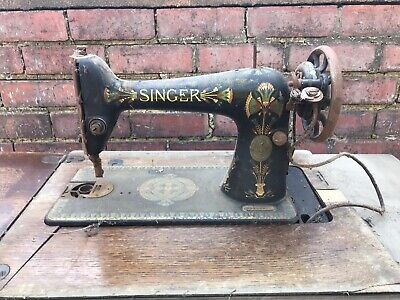 Antique Vintage Singer Sewing Machine Treadle Very Early Sew Side Table Hallway