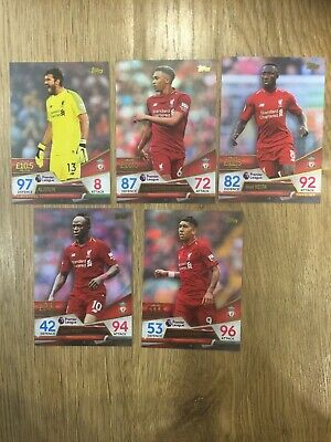 Topps match attax Ultimate Liverpool 5 full team Base cards No. 56 57 58 59 60
