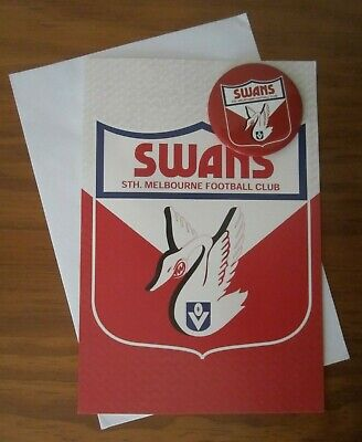 Vfl Swans South Melbourne Football Club Greeting Card With Metal Badge-New