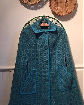 Vintage 1960s Welsh Wool Tapestry Cape Coat Turquoise Blue M L XL 12 14 16 18