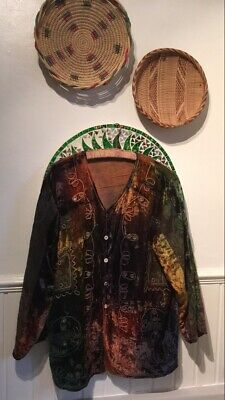 Vintage Hippie Tie Dye Velvet Embroidered And Mirrored Jacket 8 10 12 14