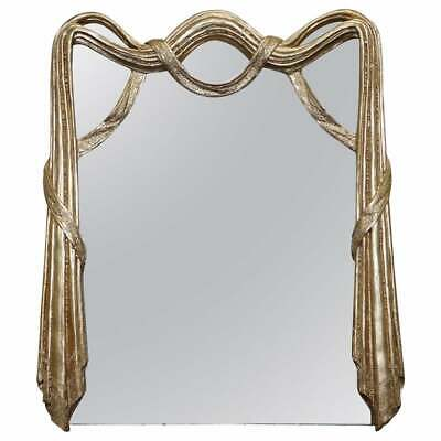 Ornately Hand Carved Antique Giltwood Over Mantle Mirror Restored Lovely Find