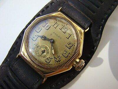 Rare Antique 9K Solid Gold Rolex Oyster Cushion Octagonal Gents Watch 1930 !!!