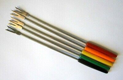 5x VINTAGE STAINLESS STEEL FONDUE FORKS COLOURFUL PLASTIC HANDLES