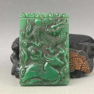 Old Chinese green jade hand-carved dragon and horse pendant
