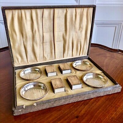 A Vintage American Silver Smoking Ashtray And Match Box Holder Set, c.1930.