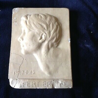 Vintage plaster tile of Rupert Brooke