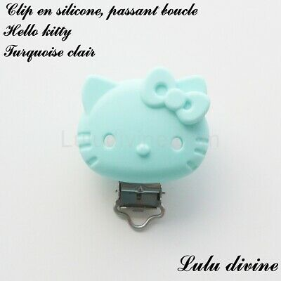 Pince / Clip en silicone, attache tétine, passant boucle, Hello kitty : Turquois