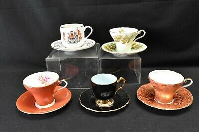 Aynsley Lot of 5 Cups & Saucers Various Patterns