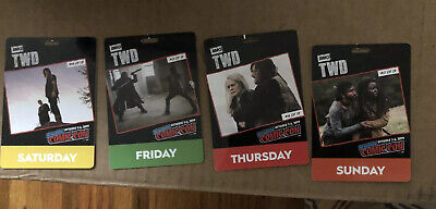 USED NYCC 2019 Thursday Friday Saturday Sunday Badge Con Walking Dead Souvenir 4