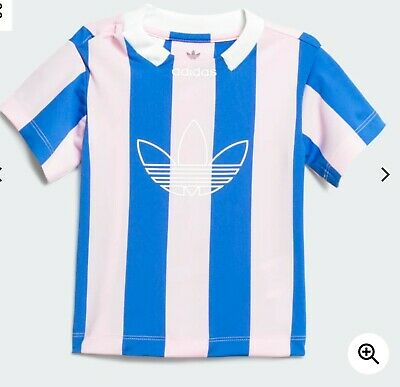 Adidas Baby Top - Stripes Jersey - 3-6 Months - Blue and Pink