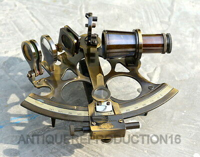 "Antique vintage brass 5"" maritime german nautical navigational working sextant"