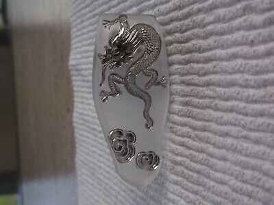 Antique Vtg Victorian Frosted Carved Glass dress clip Dragon  Czechoslovakia