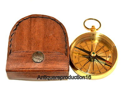 """Brass Antique Vintage Nautical 2"""" Pocket Compass With Leather Box Collectible"""