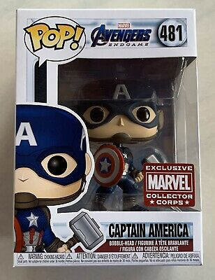 Funko POP! End Game Captain America Marvel Collector Corps! Cap With Mjolnir!